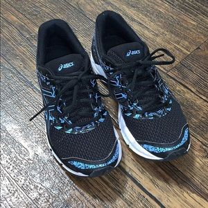 Black and Blue ASIC Running Shoes